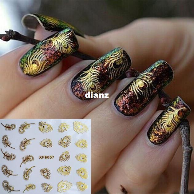 3D Moda Ouro Pavão Pena Nail Art Stickers Nail Art Decalques Decoração Ferramentas