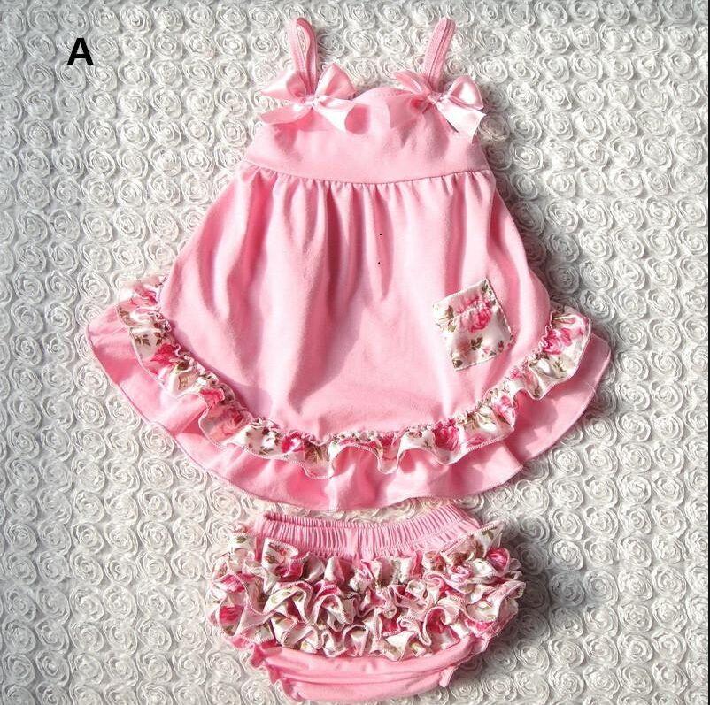 2015 Summer New Baby Girls Clothes Lovely Romper Suspender Tops+Briefs 2pcs Set Infant Kids Wave Pattern Ruffles Flower Tutu Romper