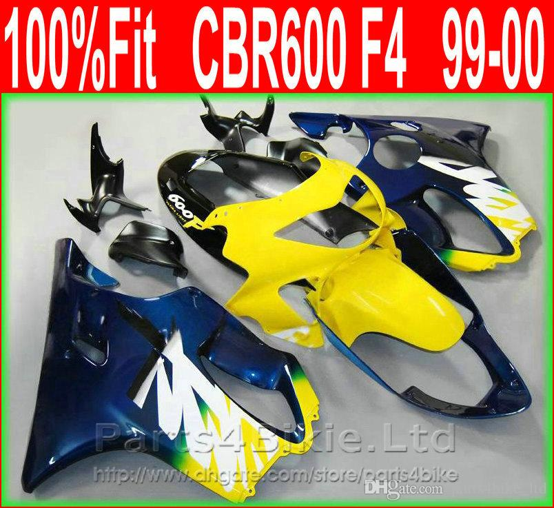 Carenatura moto Fullset blu giallo per Honda 99 00 CBR600 F4 kit carrozzeria aftermarket CBR 600 F4 1999 2000 carene kit + 7Gifts XIOS