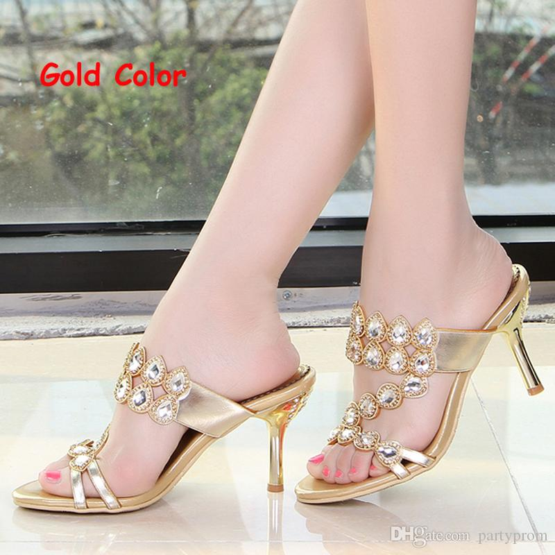 Summer Rhinestone Slippers Gold Pink Wedding Party Shoes Fashion ...