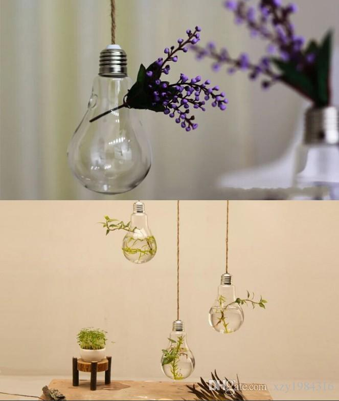 8*14CM Clear Flower Pots Planters Home Decor Glass Vases Hanging Bulb Vase Decorative Design Flower Vases Wedding Decorative Vase