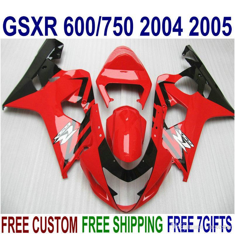 Kit de carenagem para SUZUKI GSXR600 GSXR750 2004 2005 K4 bodykits GSX-R 600/750 04 05 carenagens pretas vermelhas QE19