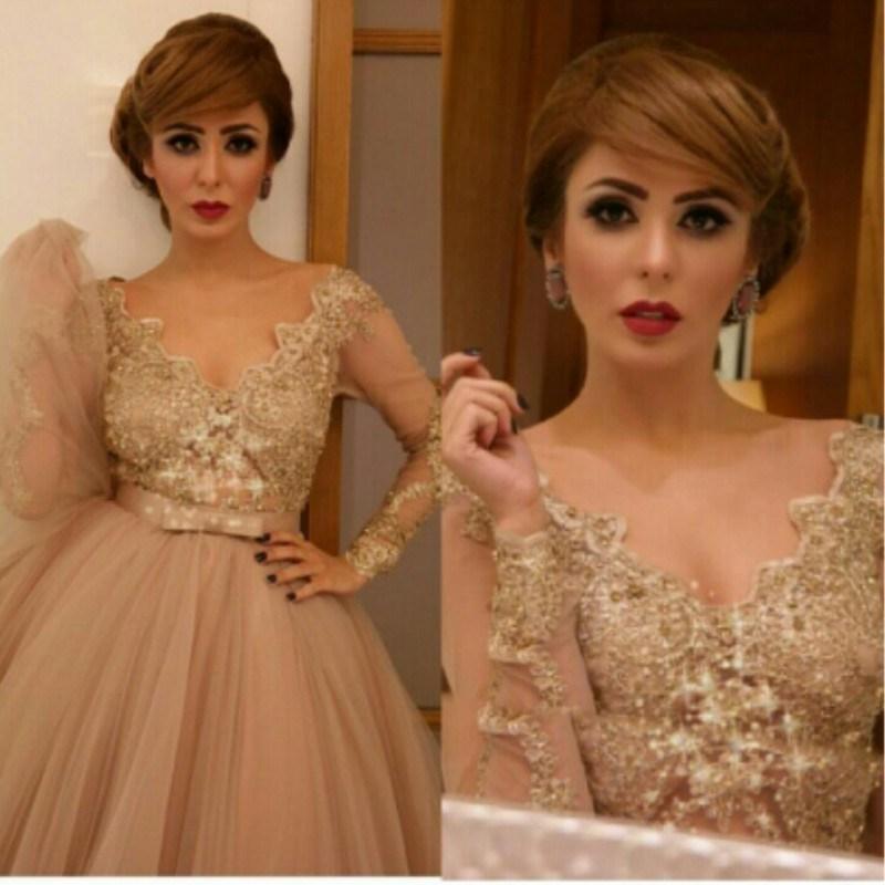 Hot ! 2015 Champagne Applique Sequined Celebrity Dresses Tea Length Arabic Evening Dresses Long Sleeve V Neck Prom Dress Party Gown