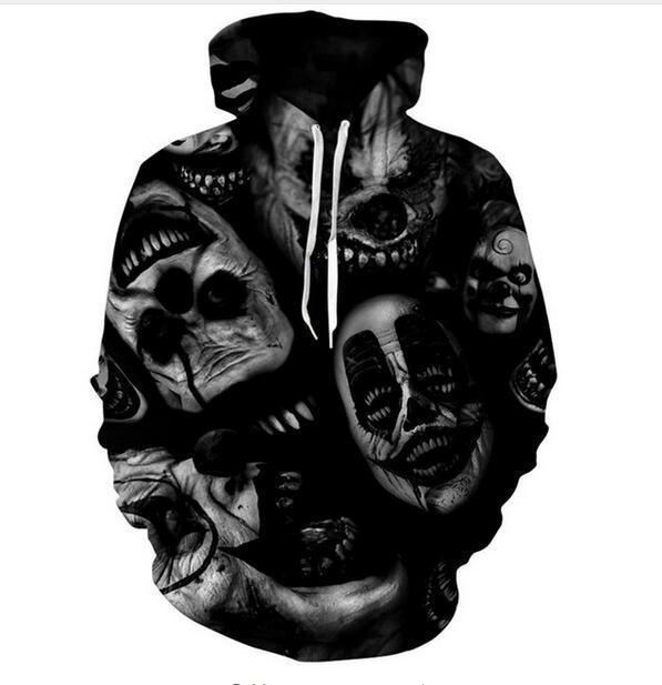 2017 herbst Winter Männer Frauen Neue Mode 3D Hoodies schädel Druck Casual Hoody Lustige Sweatshirt XK126