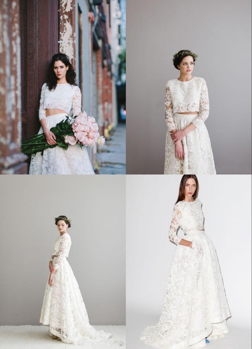 Discount Long Sleeve Wedding Dresses Two Pieces Morden Bohemian A ...