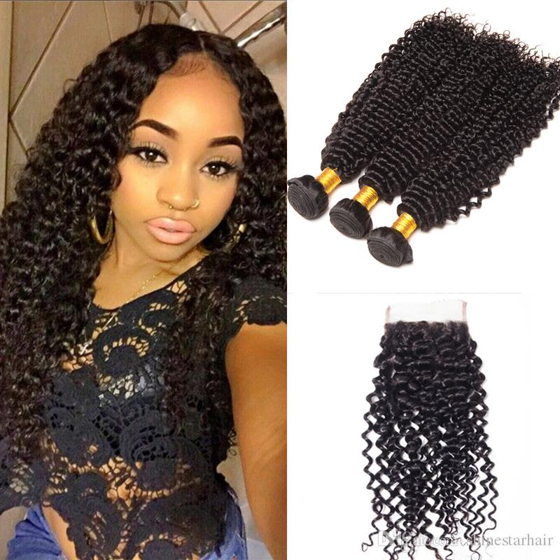 8A Brazilian Virgin Unprocessed Human Hair With Closure Kinky Curly Bundles Virgin Brazilian Human Hair Bundles With Closure Natural Color