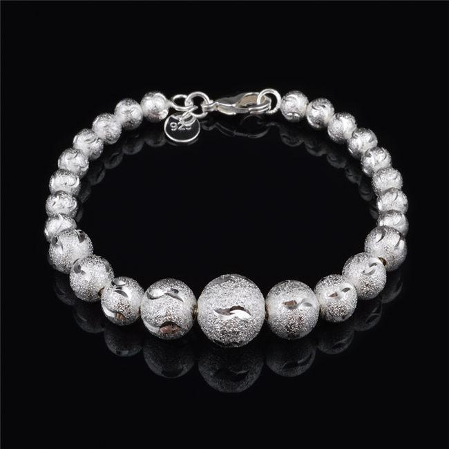 2015 New Design 925 Sterling Silver plated frosted beads Bracelet Fashion Jewelry Pretty cute wedding gift free shipping