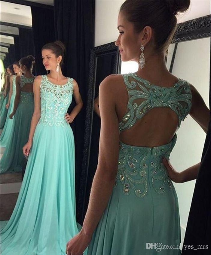 2016 뜨거운 새로운 댄스 파티 드레스 환상의 목걸이 레이스 크리스탈 비즈 긴 파티 이브닝 가운 뒤로 블루 시폰 플러스 사이즈 2016 경우 드레스