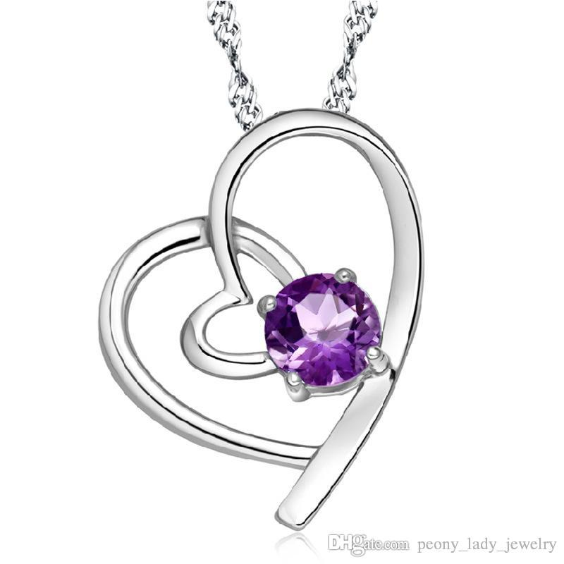 925 en argent sterling bijoux en cristal pendentif coeur déclaration colliers mariage vintage charmes chaud femme nouvelle arrivée