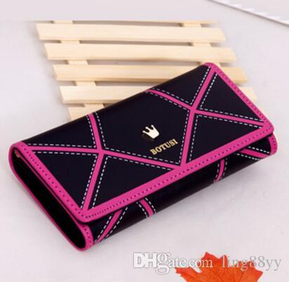 Wholesale Cheap PU Leather Passport Holder Fashion Wallets For Women Wallets And Purses Geometric Women's Purse Crown Passport Purse