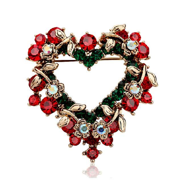 Christmas Xmas Gift Valentine's Gift Rhinestone Crystal Hollow Leaf Flower Garland Love Heart Brooch Pin Lot 12 Pcs