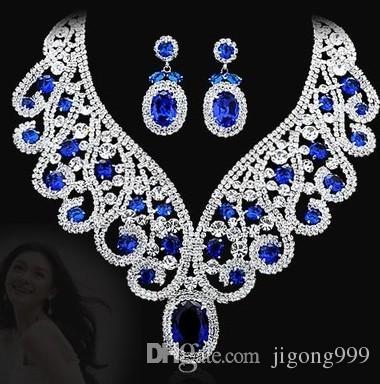 more color diamond drops wedding bride jewerly set necklace(43+6cm) earings (5*2.3cm) (400-cn )