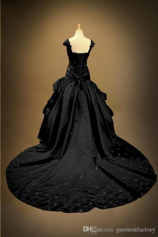 Gothic Black Lace Wedding Dresses 2015 Sweetheart Neckline Drop ...