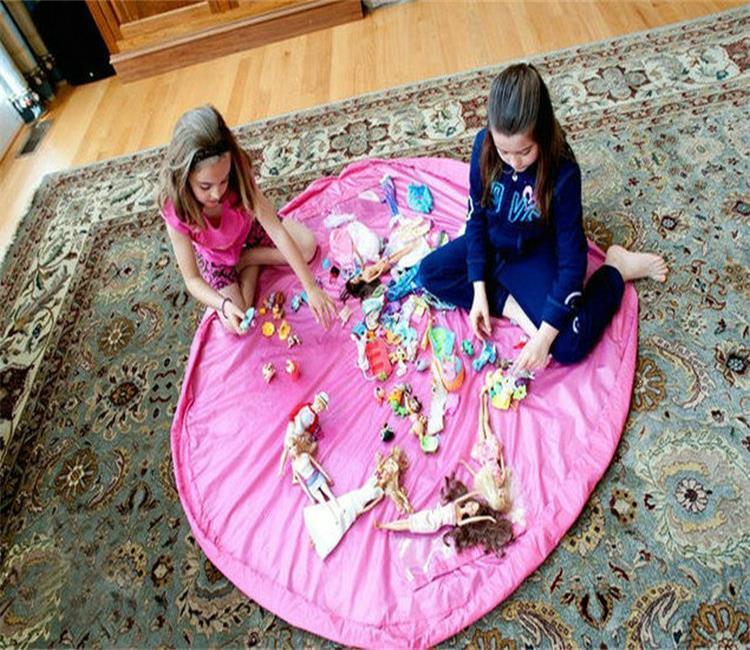 150cm Portable Kids Toy Storage Bag Play Mat Big Toys Organizer Bin Box L Size for brick Toys