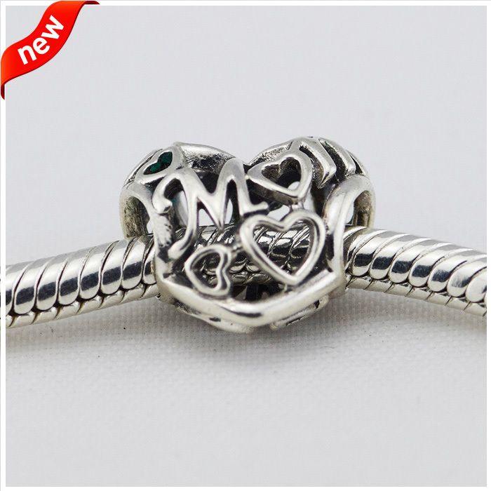 Für Pandora Charms Armband 925 Sterling Silber Perle Openwork Liebe Mama Charme Frauen DIY Schmuckherstellung