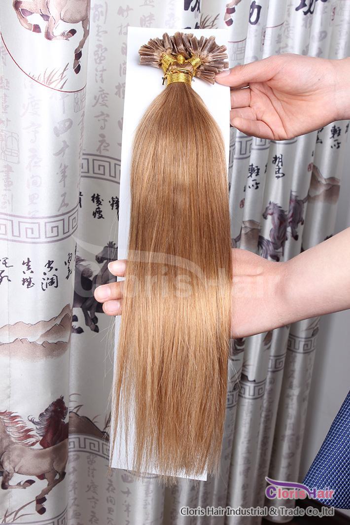 """16-22 """"100 fios 0,5g / s # 12 luz marrom dourada Prebulded Fusion Keratin Nail u Dica Extensões de Cabelo Humano Extensões Malásia Remy Hair Straight"""