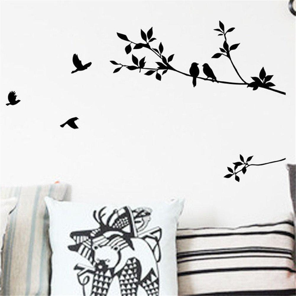 Black Wall Art Mural Poster Sticker Birds And Tree Branch Leaves Wall Sticker Decal Home Diy Wall Decoration Sticker For Bedroom Living Room Wall Vinyl Sticker Wall Vinyl Stickers From Magicforwall 2 19