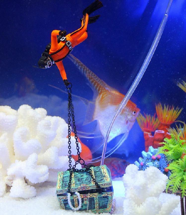 크리 에이 티브 보물 사냥꾼 다이버 액션 피겨 물고기 탱크 장식 수족관 장식 풍경 무료 배송