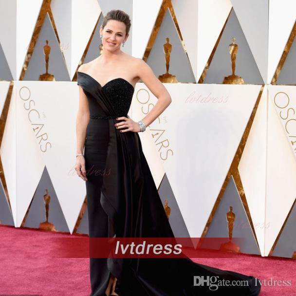 c621939f8 ... Longo preto 2016 Oscars Jennifer Garner vestidos no tapete vermelho  Beads Sweetheart V trem da varredura ...