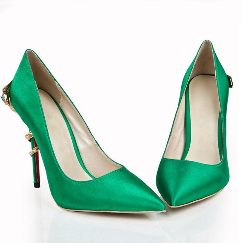 Scarpe Verdi Sposa.Acquista Decollete Verdi Da Donna Con Punta A Punta In Raso 120mm