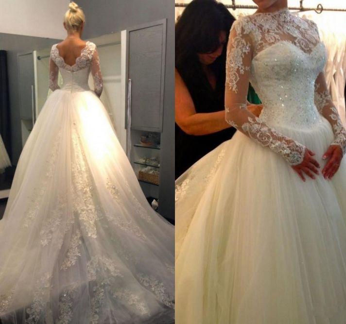 Gorąca sprzedaż Vintage Suknie Ślubne Z Długim Rękawem Zroszony Cekin Aplikacja Bateau Dekolt Tulle Suknia Balowa Księżniczka Suknie Ślubne Custom Made Custom