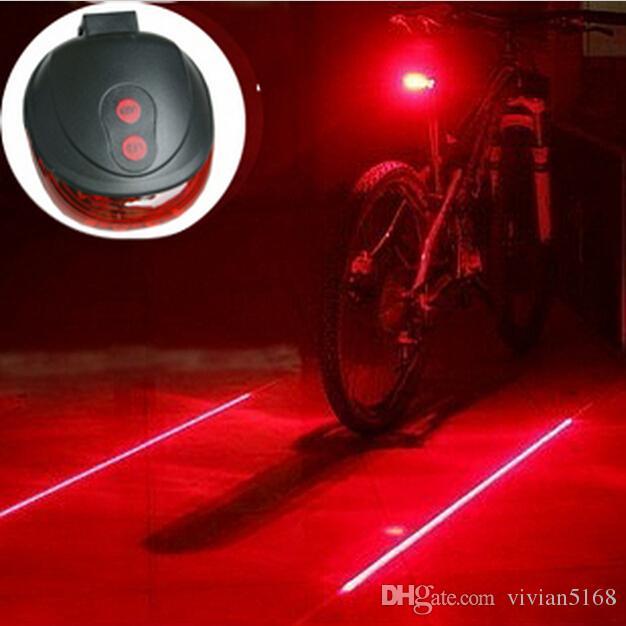 小売5 LED + 2レーザーサイクリング安全自転車リアランプ防水バイクレーザーテールライトヘッドライト警告ランプ点滅注意2色