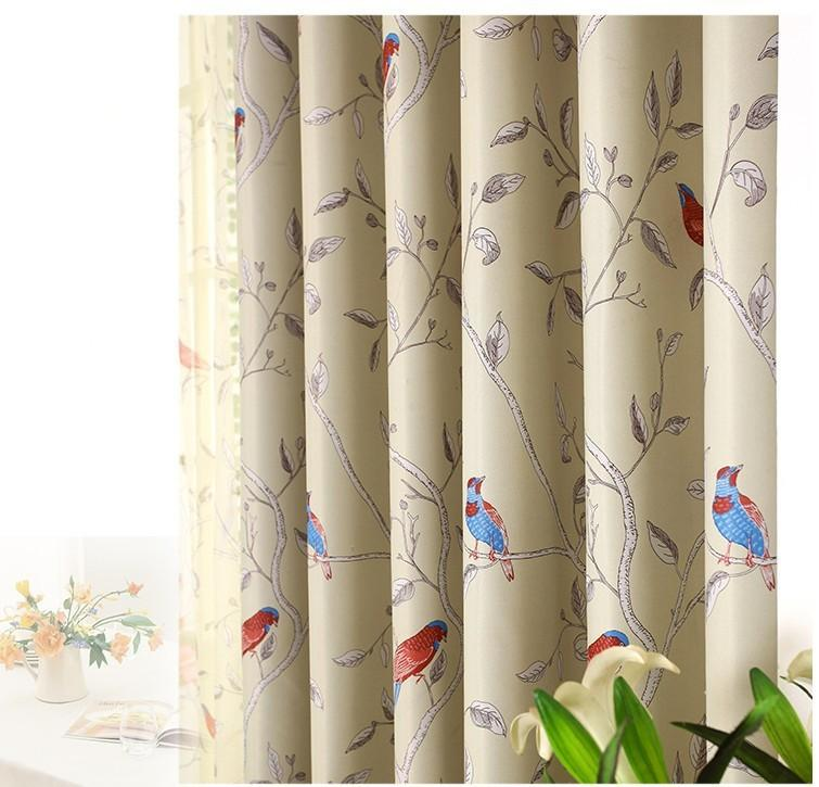 New Arrival Room Darkening Printing Flower And Bird Curtain/tulle Curtains for living room Free Shipping
