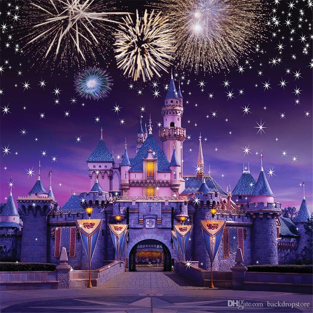 Sparkling Fireworks Stars Vintage Castle Princess Photography Backdrops Vinyl Fabric Kids Children Birthday Party Photo Studio Background