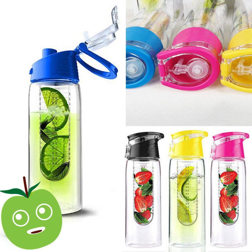 800ML Sports Lemon Juice Flip Lid Bottle Fruit Infusing Infuser Water Bottle New (Random color)