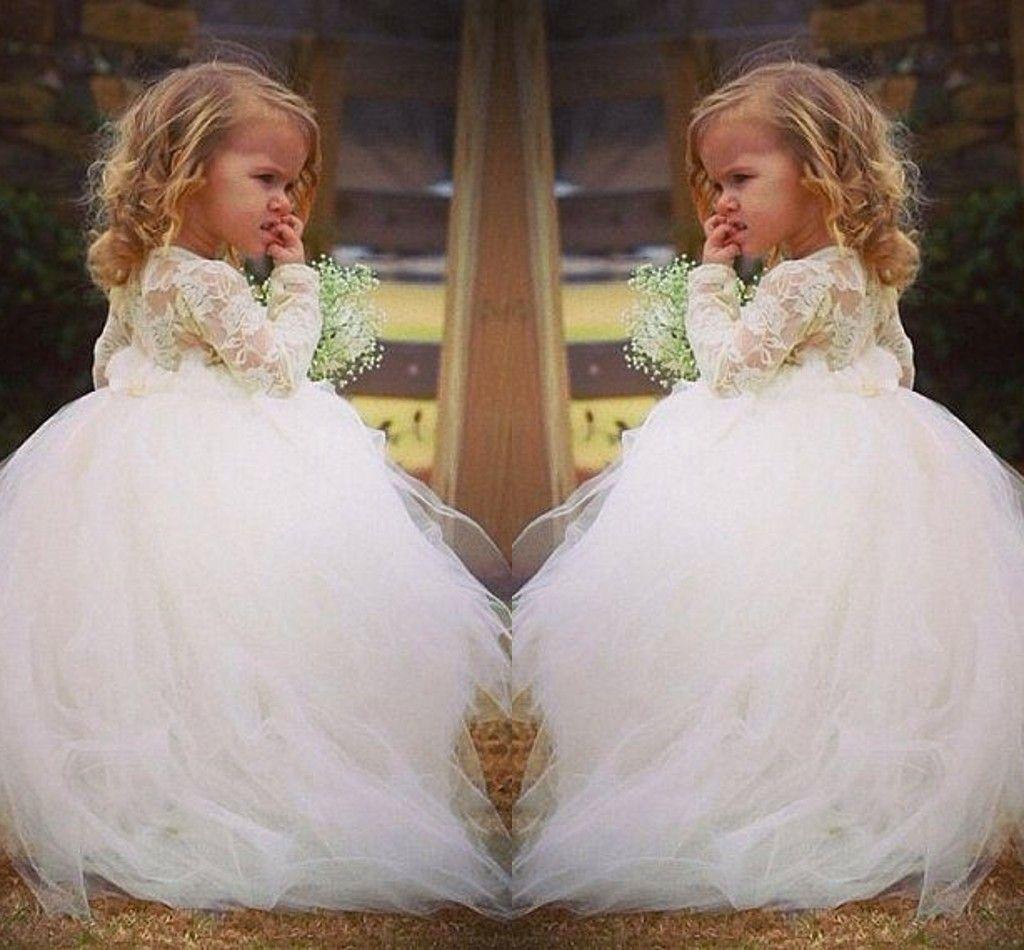 Vintage Lace Flower Girl Dresses Long Sleeves Princess Jewel Lace ...