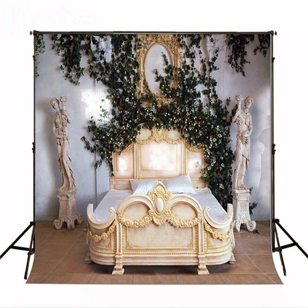 Indoor Camera principessa letto nuziale Fotografia Fondali in vinile Green Leaves Fiori Bianchi Studio fotografico Sfondo Vintage