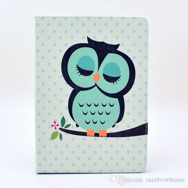 Cute Owl Flower Cat Tribal Cover z uchwytem stojące PU Skórzane etui do iPada Mini 2 3 4 Air 5 Air2 6 Free