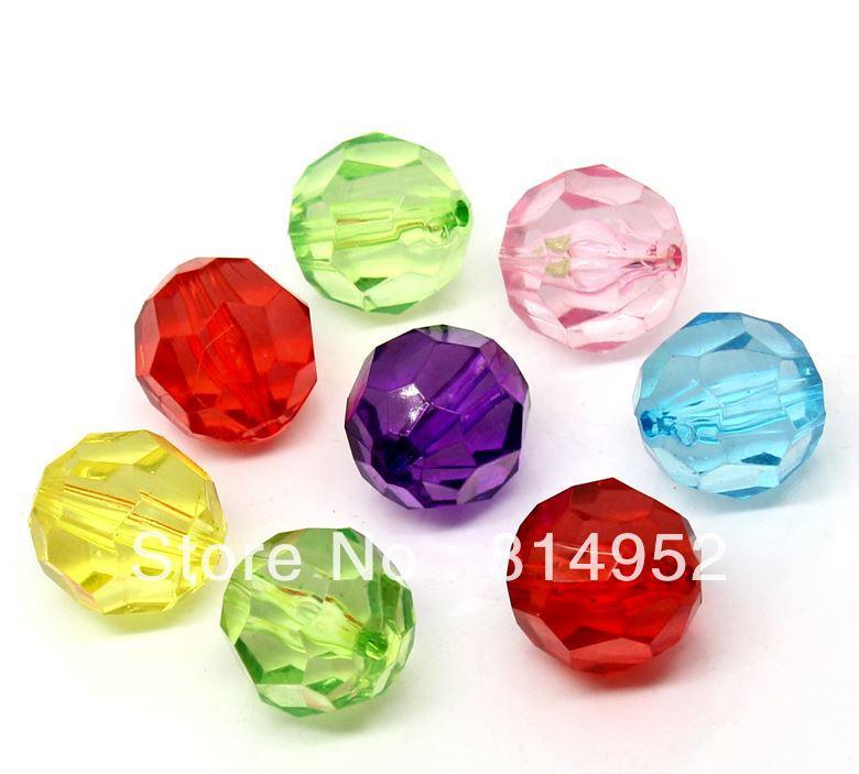 Al por mayor-venta al por mayor de moda 100pcs acrílico facetado Bubblegum Chunky Beads 20 MM transparente claro redondo Bicone Beads para collar fornido