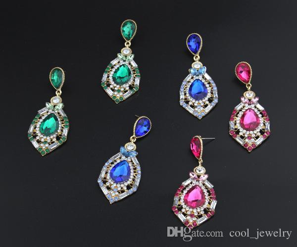 Orecchini di goccia variopinti di cristallo di Waterdrop di lusso per le donne 2016 orecchini d'avanguardia di nuovo disegno Trasporto libero di qualità superiore
