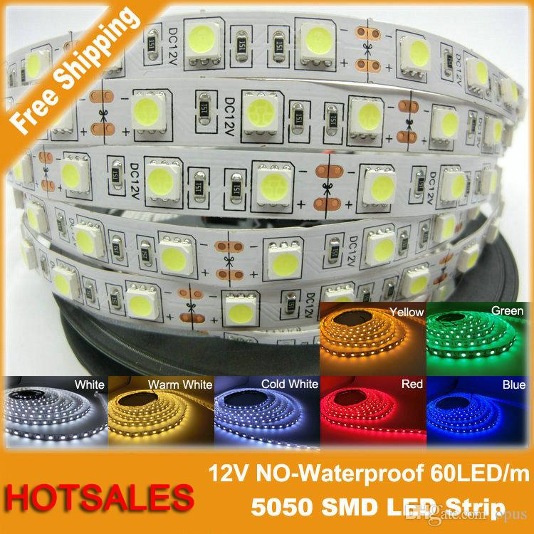 5メートル/ロット6500K LEDストリップ5050 SMD 12V 24Vフレキシブルライト5メートルLEDホワイトウォームブルーグリーン