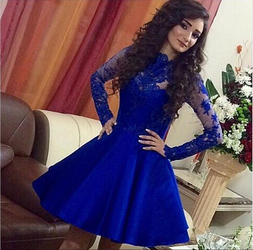 Vestidos de fiesta de encaje corto azul Royal apliques de manga larga de satén de cuello alto Sexy vestido de cóctel de fiesta Vestidos de baile 2016