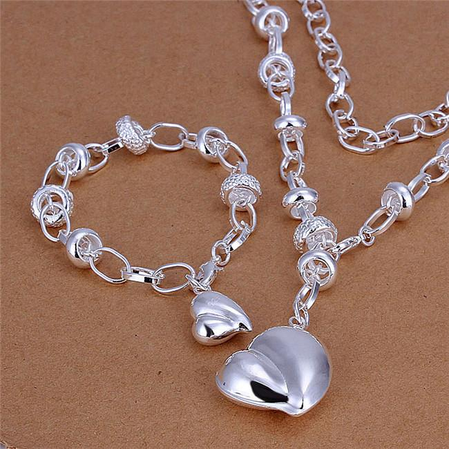 S014 Fashion Jewelry Set 925 Silver Heart Pendant Necklace & Bracelet wedding gift for woman free shipping