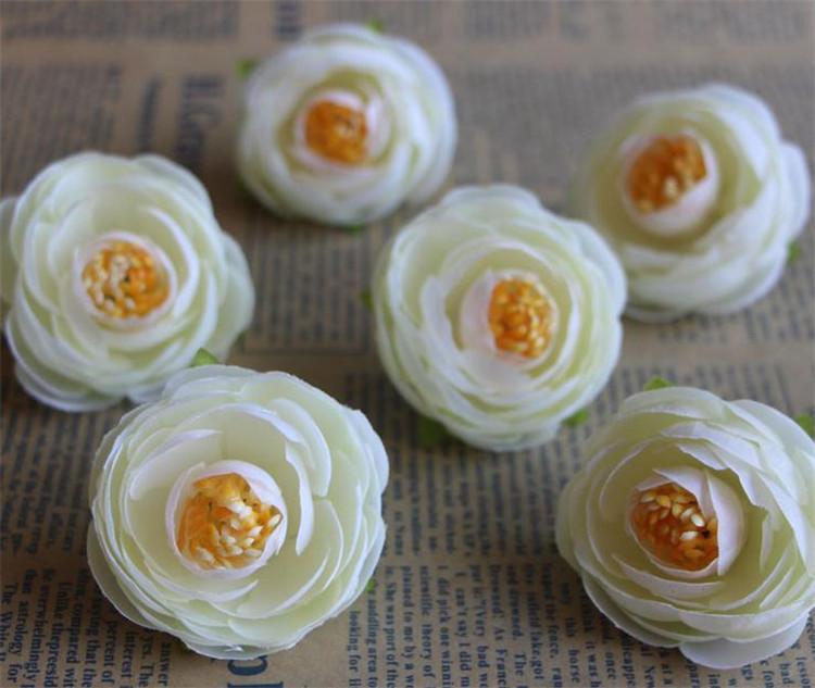 Silk Camellia Flower Head Dia. 4cm 500Pcs Artificial Flowers Tea Rose Rosebud for DIY Bridal Bouquet Wedding Photograph Props