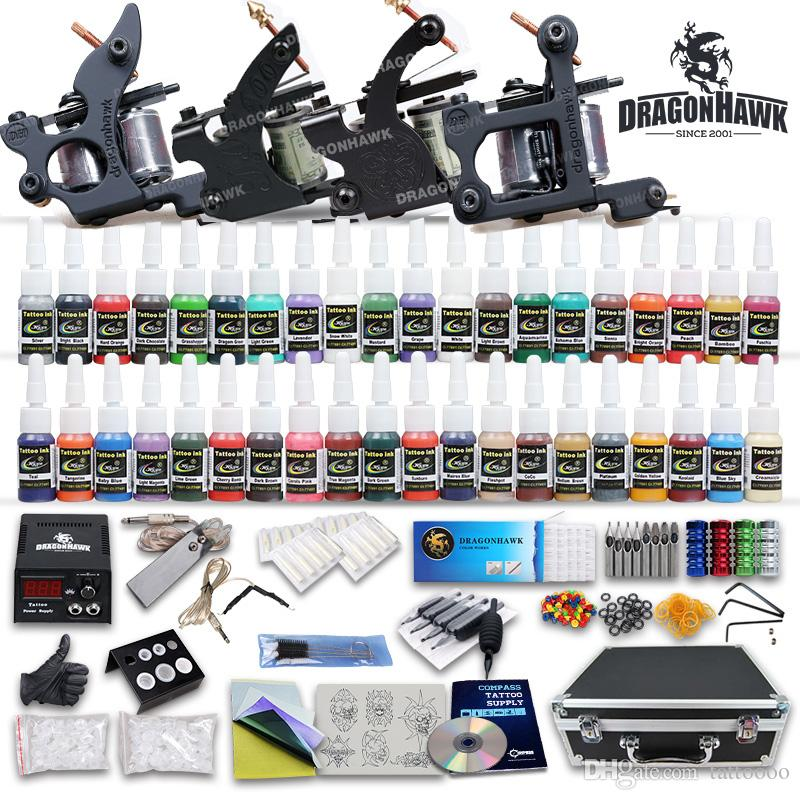 Top Kit tatuaggio completo 4 pistole macchina 40 set di inchiostro a colori alimentatore 50 pezzi aghi D120GD-1