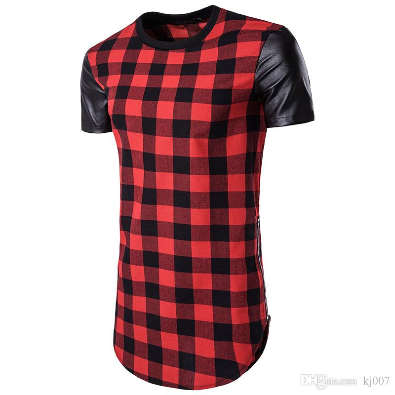 Hip-Hop High Street Hommes Chemises En Cuir À Carreaux Homme Marque Fight Skin Bilatérale Zipper T-shirt À Manches Courtes Mode T-shirts Irréguliers pour Hommes