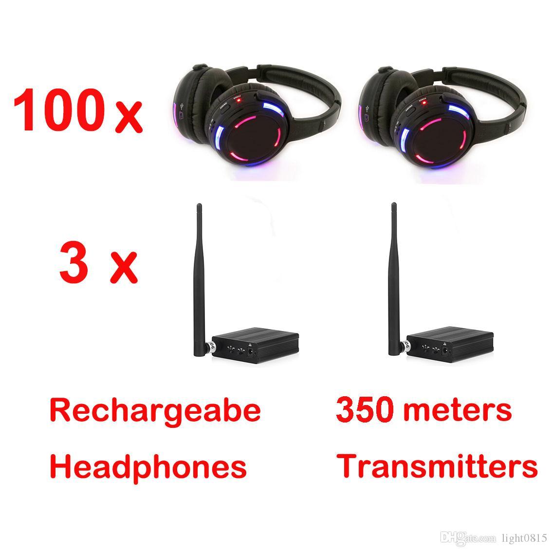 Casque professionnel silencieux Disco avec 3 canaux Système sans fil à prix avantageux pour iPod MP3, musique DJ (100 récepteurs + 3 émetteurs)