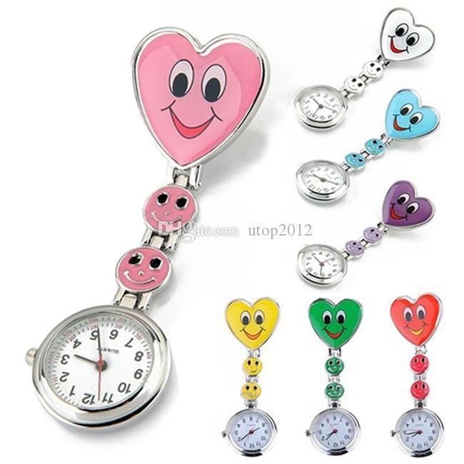 Heart Shape Cartoon Smile Face Nurse Watch Clip On Fob Brooch Hanging Pocket Watch Fobwatch Nurse Medical Tunic Watch