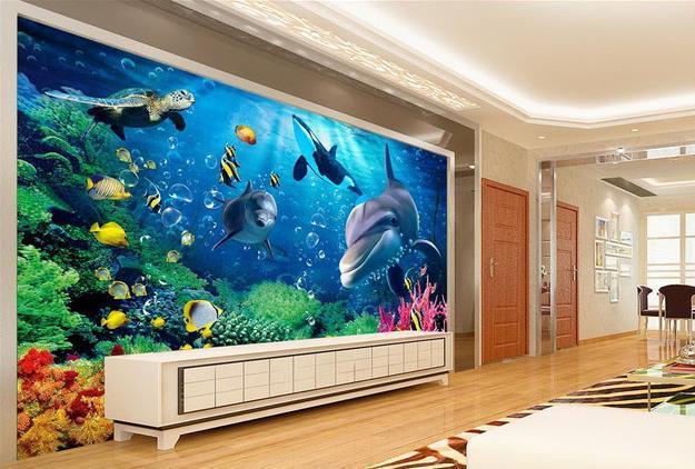Custom photo wallpaper Large 3D sofa TV background wallpaper mural wall Underwater World Dolphin 3d mural wallpaper 20156759
