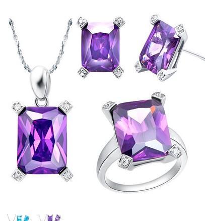 благородное белое золото цепь пурпурный бриллиант набор ожерелье леди (45 см) серьги кольцо (7 8 9 ) (sp3658
