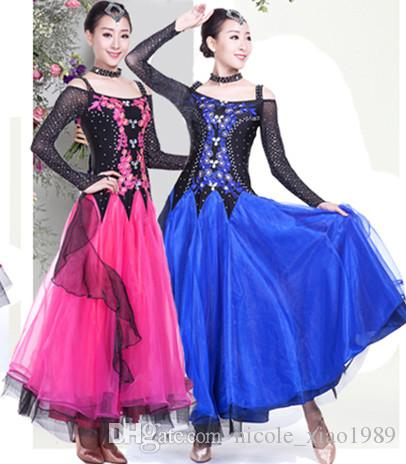 Neue Frauen Ballroom Dance Kleid Moderne Walzer Standard Wettbewerb Praxis Strass Bestickt (Dance Kleid 5 Farbe S-3XL A008