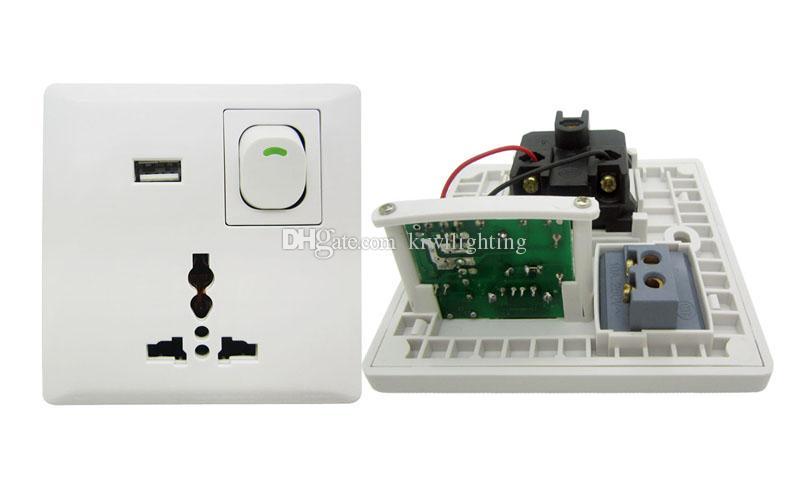 شحن مجاني USB جدار امدادات الطاقة المقبس التبديل اللون الأبيض مع واجهة usb diy 10pcs / lot