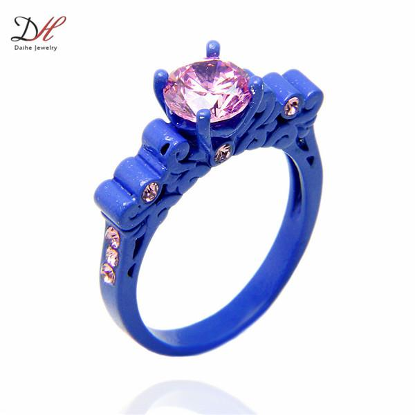 Turquoise Ring Promise Ring Sets CZ Crystal Wedding Couple Rings