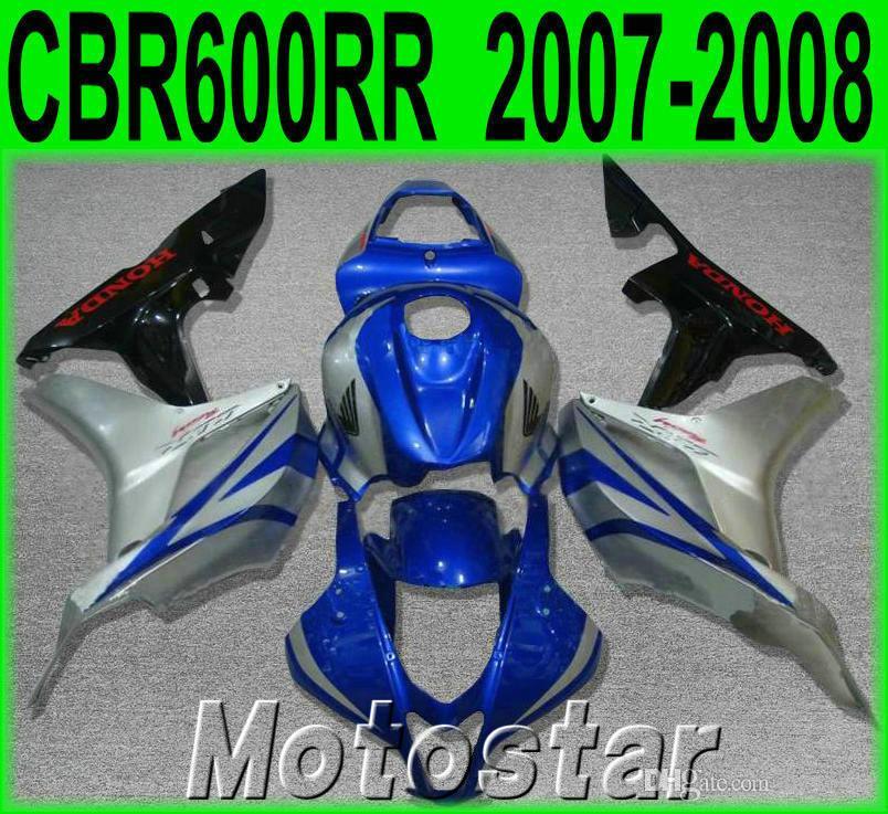 Injection molding fairing kit for HONDA CBR600RR 07 08 aftermarket CBR 600RR F5 2007 2008 blue silver black plastic fairings set FG24