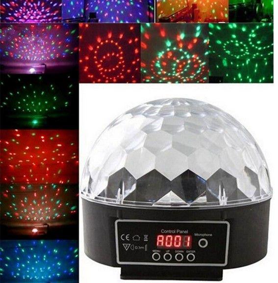Мини Голос-активированный диско DJ этап освещения LED RGB Кристалл Magic Ball 6-канальный DMX-512 свет этапа КТВ 20Вт свет партии