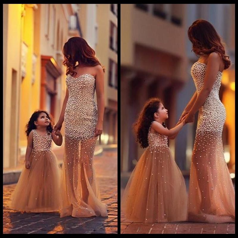 Mother Daughter Matching Dresses Mermaid Tulle Pearls Prom Party Dress Elegant Long Formal Dresses Evening Dresses